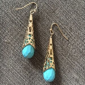 Vintage Kendra Scott Aqua & Gold Tamara Earrings